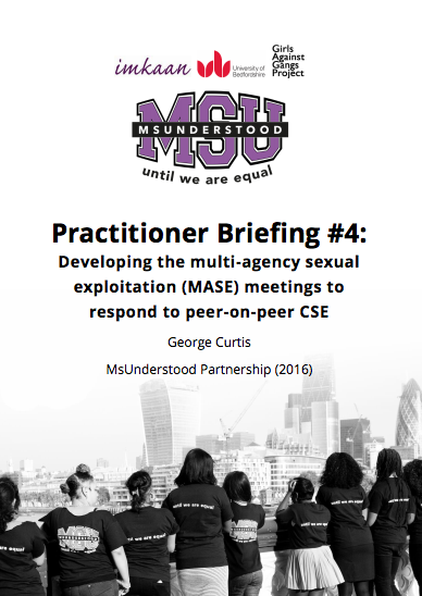 Developing multi-agency sexual exploitation (MASE) meetings to respond to peer-on-peer CSE
