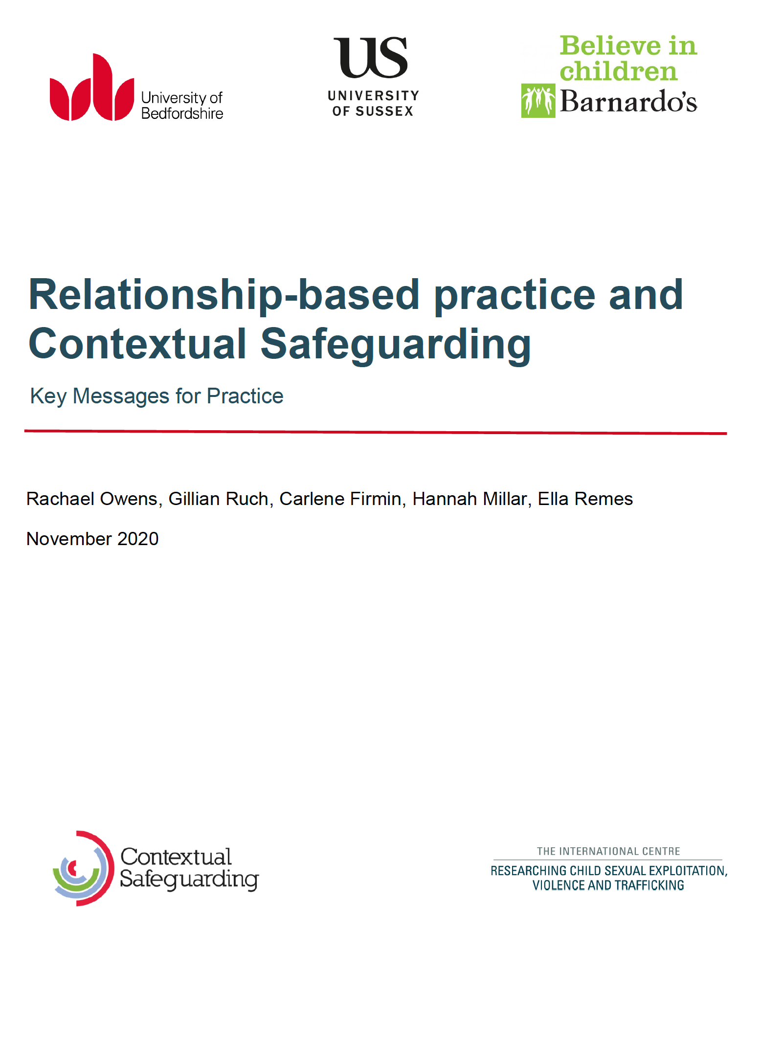 Relationship-based Practice and Contextual Safeguarding