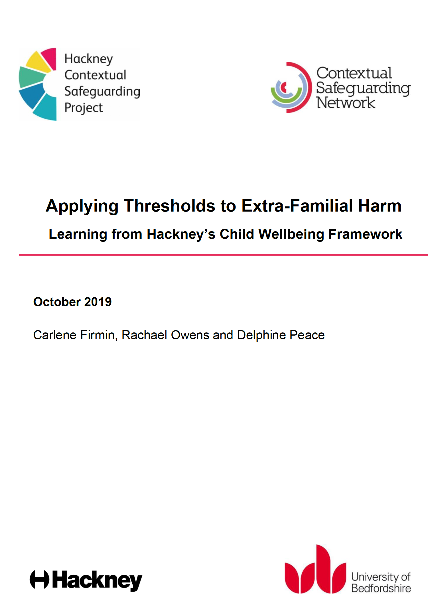 Applying thresholds to extra-familial harm: a briefing